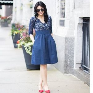 Make Offer Eliza J Lace & Faille Navy Dress